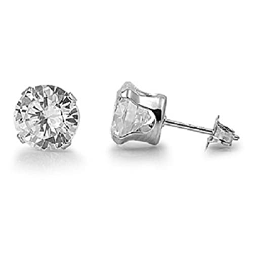 5ab964983 925 STERLING SILVER CUBIC ZIRCONIA CZ ROUND STUD EARRINGS. UNISEX. BRAND  NEW & BOXED