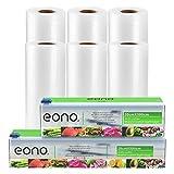 Amazon Brand - Eono Bolsas de Vacio Alimentos Rollo de Envasado - para Conservacion de Alimentos y Sous Vide Cocina, BPA Free - 20x500 y 28x500cm, 6-Rolls, 2-Caja de Corte
