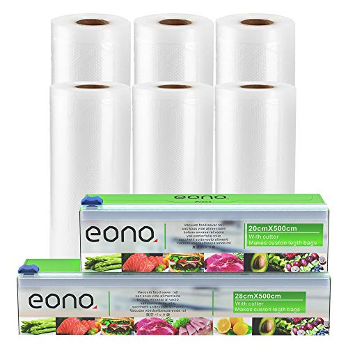 Amazon Brand - Eono Vakuumrollen Vakuumierfolie Folienbeutel-Vakuumbeutel - für Sous Vide oder Lebensmittel Lagerung, BPA frei - 20cm x 5m und 28cm x 5m, 6-Packungen, 2-Cutter Box