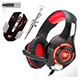Stereo Gaming Headset for PS4 Xbox One PC Controller, 3.5mm Wired Over Ear Headphones with Mic. LED Light&Memory Foam Ear Pads&Volume Control&Noise Cancelling GM-1 Kids Boys Gifts (Red(Combinations))