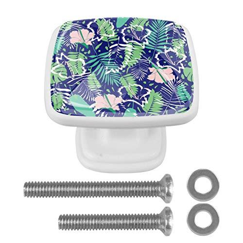 Pack de 4 pomos cuadrados de resina ABS para gabinetes de cajones, dormitorio, armario, cuarto de baño, diseño de hojas de palma tropicales