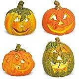 matches21 Kleine Halloween Kürbisse aus Ton Herbstdeko 4er Set Dekokürbisse mit gruseligen Fratzen/Gesichtern je 8x8x8 cm