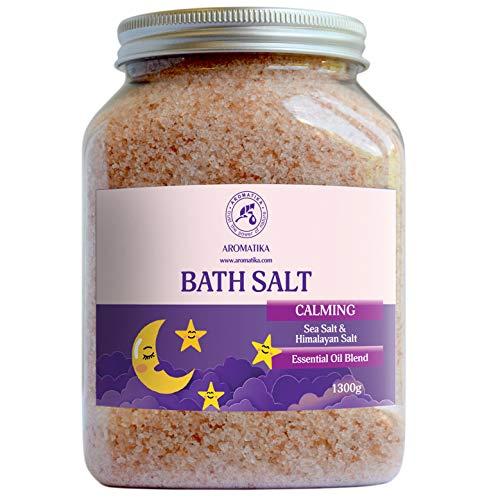 Beruhigendes Badesalz 1300g mit Ätherischen Ölen Sandelholz & Bergamotte & Lavendel - Besten für Bad - Natursalz 1.3 kg - Guter Schlaf - Entspannend - Körperpflege