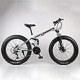 24-26In Plegables Bicicletas, Adulto Bicicleta De 21Velocidad Suspensión Completa MTB Gears Frenos De Doble Disco-Super Wide 4.0 Neumáticos Grandes Bicicletas De Alto Carbono De Acero,Plata,24in