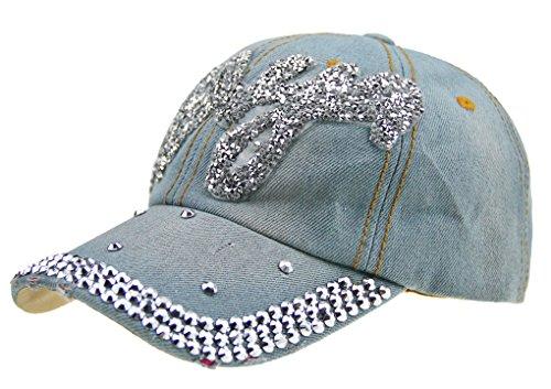 Damen Denim Hut Baseball Cap Frauen Diamant-Baseball-Mütze Hip Hop Flat Summer Style Lady Jeans Mützen