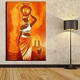Imprimir en Lienzo Mujer Africana para Carteles e imágenes, Ilustraciones, Arte de Pared, decoración para Sala de Estar,70x105cm,Pintura sin Marco