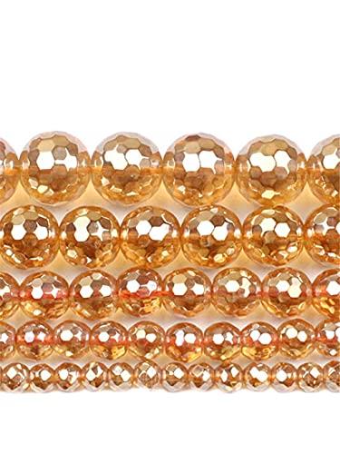 Cuentas de hematita de oro facetado de piedra natural para hacer joyas, collar y pulsera accesorios 2/3/4/6/8/10 mm, oro 10 mm aprox. 38 cuentas