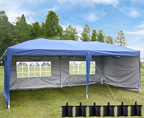 charaHOME 10x20 Canopy Tent Pop Up Shade Instant Folding Heavy Duty Outdoor Gazebo Blue with 4 Removable Sidewalls, 6 Sand Bags for Outdoor Party Wedding Commercial Activity Pavilion BBQ Beach