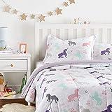 Amazon Basics Easy-Wash Microfiber Kid's Comforter and Pillow Sham Set - Full or Queen, Purple Unicorns
