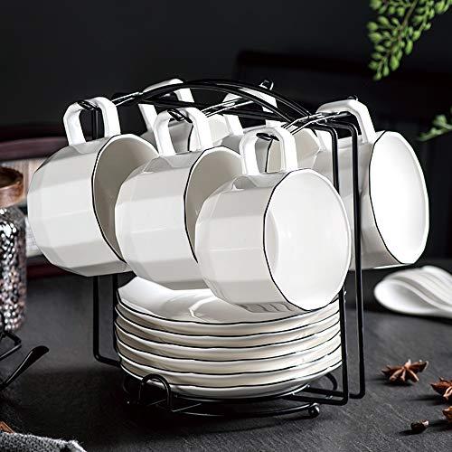 LTLWSH Ensemble De Tasse à Café Et Soucoupe, avec Cuillère Et étagère en Porcelaine Taillée China China