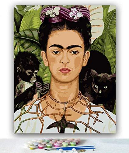 DIY kleurenbeelden door cijfers kleuren van het beeld Frida Maid melk met het opstellen Paint by Number Huis,40 * 50cm