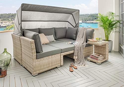Destiny Lounge Loungegruppe Aruba Sitzgruppe Sofaset Faltdach Polyrattan (76070)