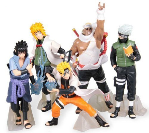 GRHOSE New NARUTO Anime 14-17cm PVC Figure Set with Base toys of 5pcs