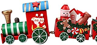 Getadate 4 Pieces Christmas Wood Trailer Xmas Small Train Set Children Kindergarten Festival Gift