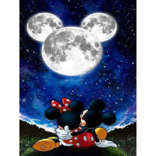 5D Diamond Painting Kits for Adults Kids,Mickey Moon And Minnie Mouse Stars Full Drill Paint with Diamonds,Wall Paintings for Living Room Diamond Cross Stitch Arts Canvas for Home Décor 11.8x15.7 inch
