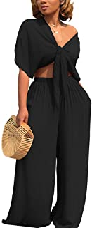 Women's 2 Piece Jumpsuit Ruched Sleeveless Crop Top...