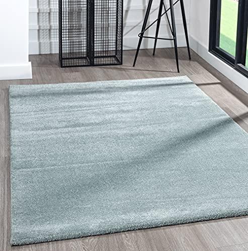 the carpet Alfombra moderna de pelo corto, muy suave, efecto mezclado, brillo elegante, azul, 80 x 150 cm