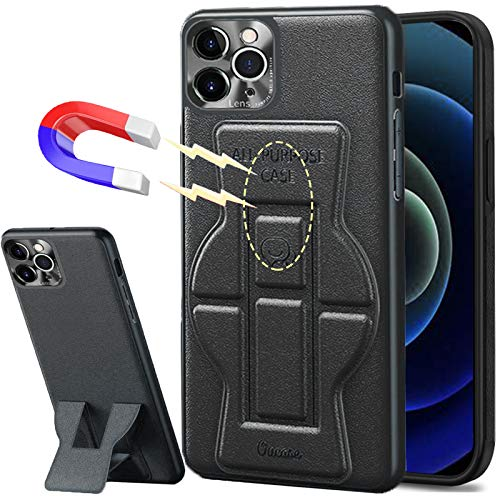 Magnetic Case Compatible with iPhone 12 Mini 5.4', Stick to Metal Surface [Support Magnetic Car Mount] All-Purpose Case with Stand Full Camera Lens Protection Supple PU Leather Shockproof Phone Cover