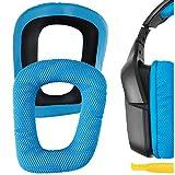 Geekria QuickFit Mesh Fabric Replacement Ear Pads for Logitech G930, G430, G35, F450 Headphones Earpads, Headset Ear Cushion Repair Parts (Blue)