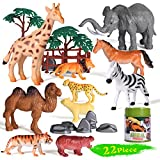 Safari Animals Figurines Toys, Jungle Animal Figures for Toddlers, Realistic Wild Plastic Animals set 22 PCS, Learning Educational Toys with zoo Animals, A Party & Birthday Gifts for Kids Aged 3 +