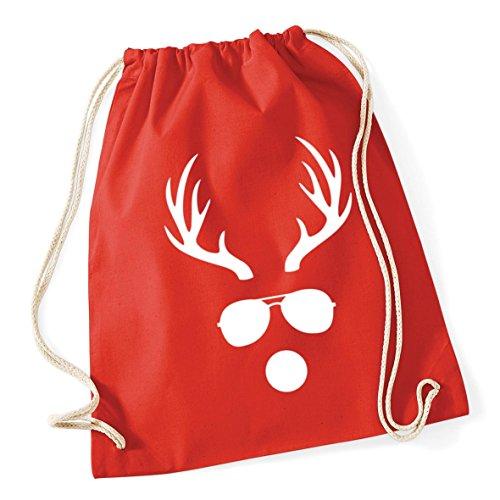 HippoWarehouse Reindeer in Sunglasses Drawstring Cotton School Gym Kid Bag Sack 37cm x 46cm, 12 litres