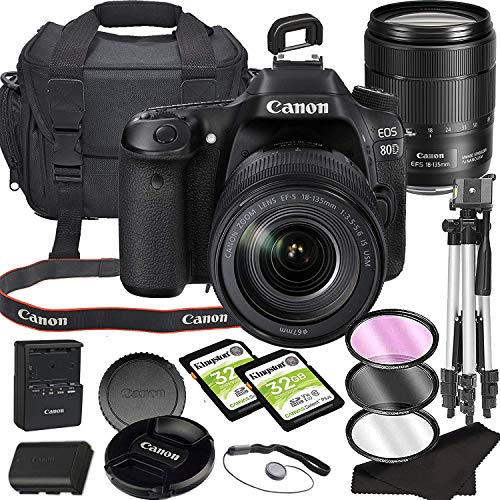 Canon EOS 80D DSLR Camera Bundle with 18-135mm USM Lens with Built-in Wi-Fi | 24.2 MP CMOS Sensor | DIGIC 6 Image Processor and Full HD Videos + 64GB Memory Bundle