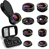 Phone Camera Lens Kit, 9 in 1 Zoom Universal Telephoto Lens+198°...