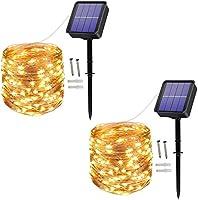 [2 Pack] Solar String Lights, 100 LED 10M/33Ft 8 Modes Solar Fairy Lights Waterproof Outdoor/Indoor Garden Lights Copper...