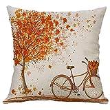 Gspirit 4 Stück Kissenbezug Herbst Ahornblatt Muster Dekorative Kissenhülle Baumwolle Leinen Werfen Sie Kissenbezüge 45x45 cm - 3