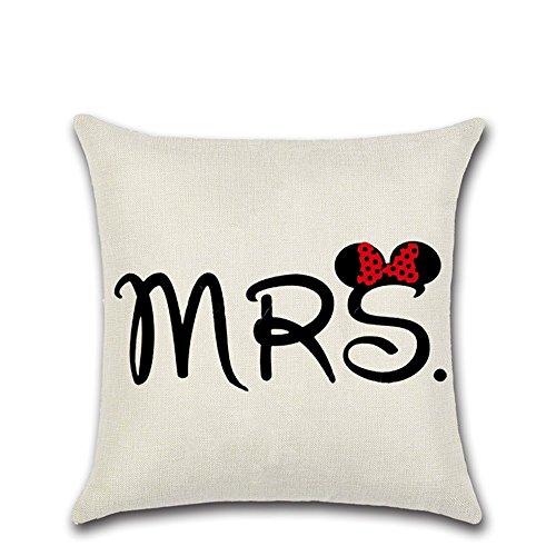 Excelsio MR MRS Motto - Funda de cojín para sofá, cama, salón, dormitorio, decoración del hogar, 45 x 45 cm, diseño cuadrado de algodón
