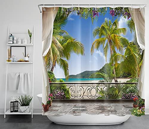LB Tropischer Strand Duschvorhang Antischimmel Wasserdicht Badezimmer Gardinen Meer & Grün Palmen Pflanzen außerhalb des Balkons 180x180cm Polyester Bad Vorhang mit Haken