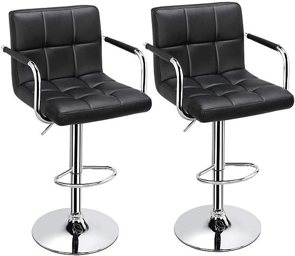 Topeakmart Black Barstools Swivel Leather Stool Adjustable Bar Chair Set Of 2