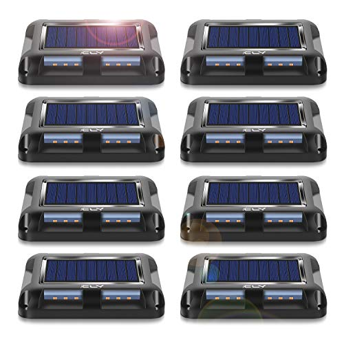 CLY Solar Deck Lights Outdoor Driveway Dock LED Light Solar Powered Waterproof Lights for Step Sidewalk Stair Garden Ground Pathway Yard Warm White(8 Pack)