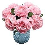 NewZC Flores artificiales de seda rosas artificiales 8 piezas con 2 cintas de colores, ideal para interiores, exteriores, hoteles, jardines, oficinas, fiestas, bodas - Color rosa