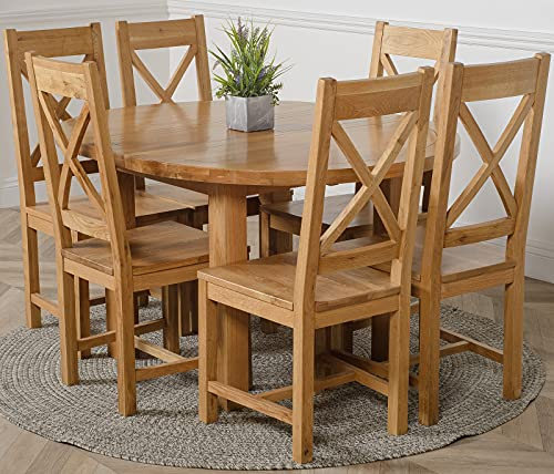 OAK FURNITURE KING Edmonton 110-140 cm Oak Extendable Round Dining Table and 6 Chairs Dining Set with Berkeley Oak Chairs