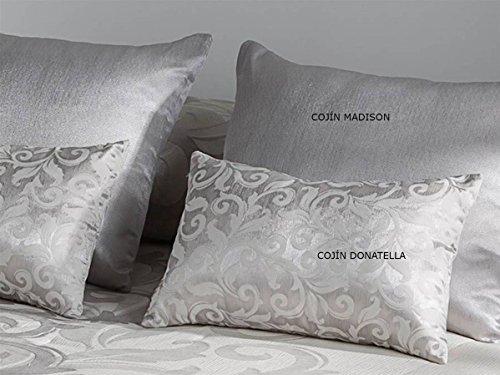 Tejidos JVR - Cojín Donatella 30x50 cm - Color Plata con Relleno