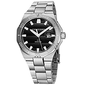 Concord Mariner Mens Stainless Steel Dive Watch Automatic – 43mm Analog Black Face with Second Hand, Date, Sapphire…