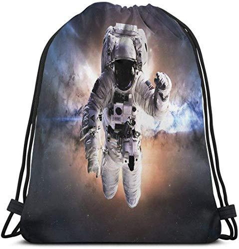 Rucksack mit Kordelzug Unisex-Tasche für das Reisen im Fitnessstudio, schwebender Astronaut im Weltraum-Nebel Himmlische Körper Sternensysteme Lieben die Wissenschaft