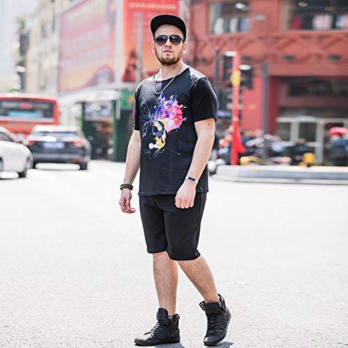 Heren 2020 Nieuwe Zomer Ronde Hals Met Korte Mouwen Sport Pak Koreaanse Korte Mouwen T-Shirt Shorts Running 2-Delig Pak Print Heren,Black,5XL