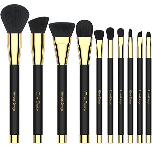 Makeup Brushes EmaxDesign 10 Pieces Makeup Brush Set Professional Foundation Blending Contour Eyeshadow Brow Blush Lip Eye Face Liquid Powder Cream Cosmetics Brushes tool Kit