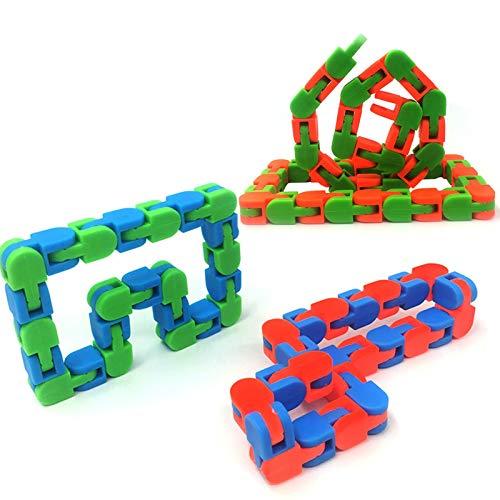 Wacky Tracks Snap And Click Fidget Toy - Ansiedad Niños Adultos Antiestrés Cadena Fidget Pulsera Rompecabezas Juguetes Educativos - Color Aleatorio