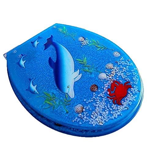 Asiento de Inodoro de Resina con Tapa de Art Close Series, Tapa de Inodoro Resistente con Efectos 3D con delfín, Estrella de mar, mar Real y Arenas