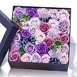 石鹸バラプレゼントボックスは仲間のよい親友に送るだけでなく 引越し 母の日 誕生日バレンタインデー 感謝祭 クリスマスの一番いいプレゼントである 人工バラ(purple)