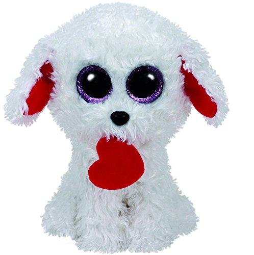 TY 37210 37210-Honey Bun, Hund mit Herz 15 cm, Kuscheltier, Weiss