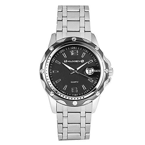 KUXIEN Herren Uhr Analog Quartz mit Stainless_Steel Armband