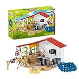 Schleich 42502 Farm World Play Set - Clínica veterinaria con mascotas, juguetes a partir de 3 años