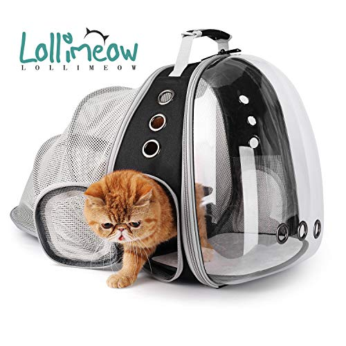 Lollimeow Pet Carrier Backpack, Bubble Backpack Carrier, Cats and Puppies,Airline-Approved, Designed for Travel, Hiking, Walking & Outdoor Use (Black-Expandable)