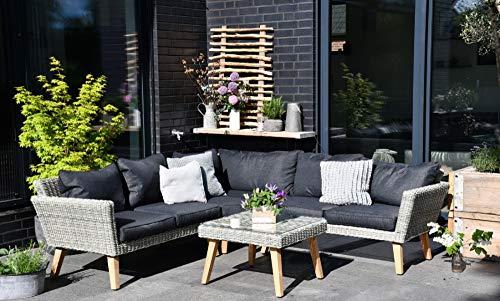 Outzone BelohnDich Outdoor Gartensofa, Dicke Kissen, Garten-Lounge aus Poly-Rattan mit Tisch, Sofa-garnitur mit Holz-Beinen, Anthrazit Grau