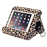 Flippy with New Storage Cubby Multi-Angle Soft Pillow Lap Stand for iPads, Tablets, eReaders, Smartphones, Books, Magazines (Def Leopard)