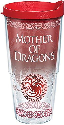 Tervis HBO Game of Thrones – Copo isolado para viagem mãe dos dragões com envoltório e tampa, 680 g – Tritan, transparente
